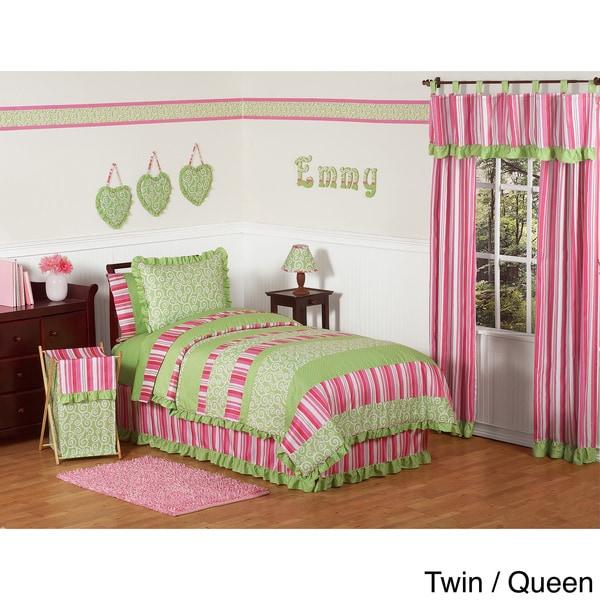 Sweet Jojo Designs Olivia Green/ Pink Comforter Set