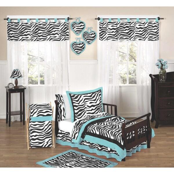 Sweet JoJo Designs Turquoise Funky Zebra 5-piece Toddler Bedding Set
