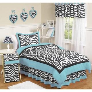Sweet JoJo Designs Turquoise Funky Zebra 4-piece Twin-size Bedding Set