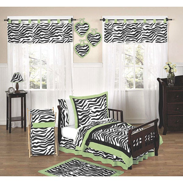 Sweet JoJo Designs Lime Funky Zebra 5-piece Toddler Bedding Set