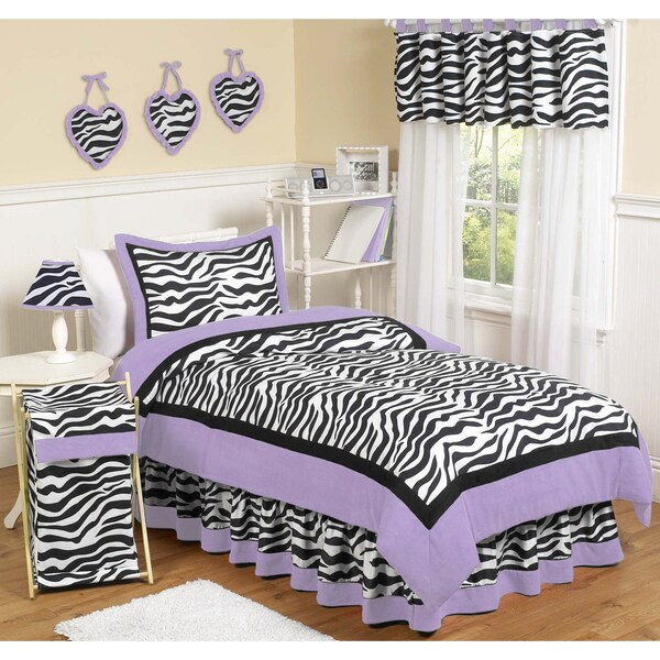 Sweet JoJo Designs Purple Funky Zebra 3-piece Full/ Queen-size Bedding Set