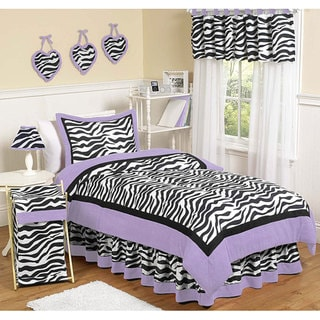Sweet JoJo Designs Purple Funky Zebra 4-piece Twin-size Bedding Set