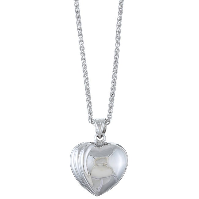 Sterling Essentials Rhodium Plated Silver 18-inch Ridged Heart Necklace