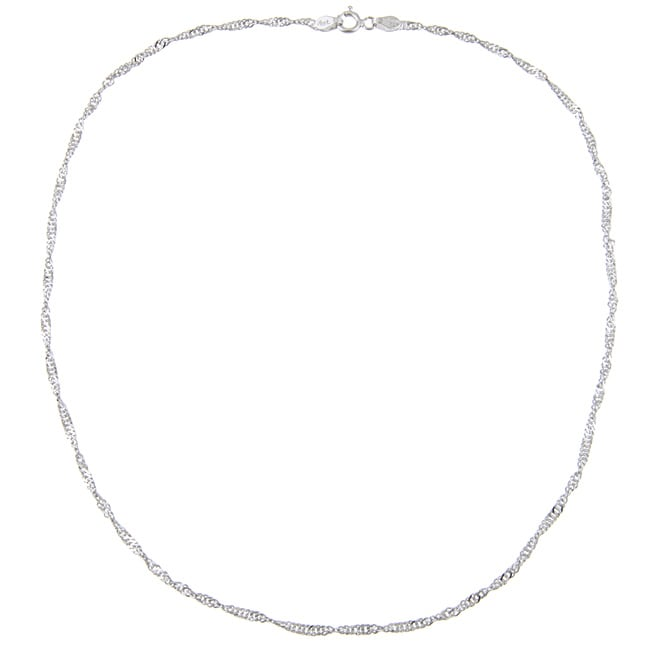 Rhodium Plated Sterling Silver Singapore Chain Necklace
