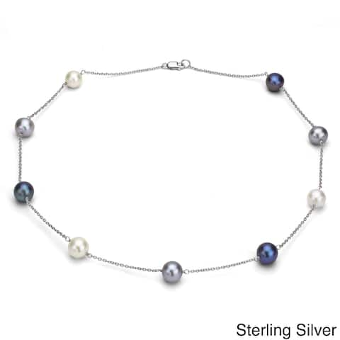 DaVonna Silver Chain and Multicolored Freshwater Pearl Necklace (9-10 mm)