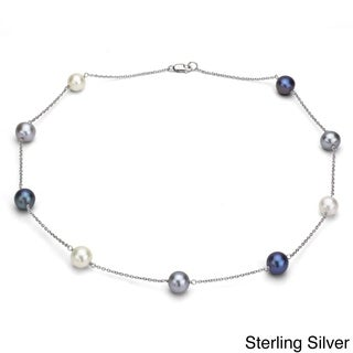 DaVonna Silver Chain And Multicolored Freshwater Pearl Necklace 9 10 Mm