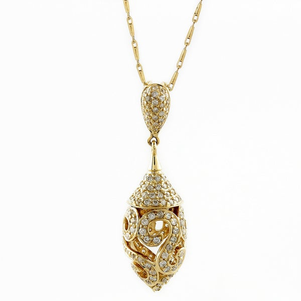 14k Yellow Gold 3/4ct TDW Diamond Drop Necklace