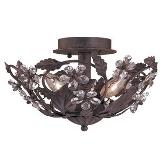 Crystorama Abbey 3-light Dark Rust Semi-flush Light