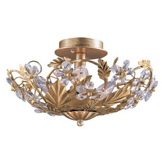 Crystorama Abbey 3-light Gold Semi-flush Light