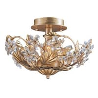 Crystorama Crystal Abbey 3-light Gold Semi-flush Light
