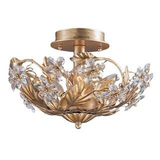 Crystorama Crystal Abbey 3-light Gold Semi-flush Light