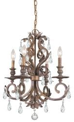 Royal 4-light Florentine Bronze Chandelier - Thumbnail 2