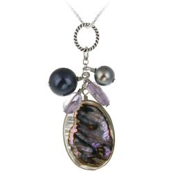 Glitzy Rocks Sterling Silver Abalone and Multi-stone Necklace