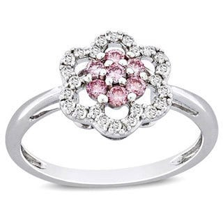 Miadora 14k White Gold 3/8ct TDW Pink and White Diamond Ring