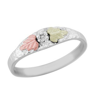Black Hills Gold and Sterling Silver Grape Cluster Ring - White