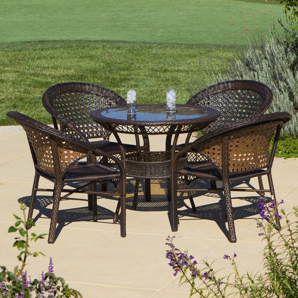 Outdoor 5 Piece Wicker Dining Bistro Table Set By Christopher Knight