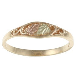 Black Hills Gold 14k Gold Diamond-cut Leaves Ring