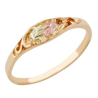 Black Hills Gold 14k Gold Diamond-cut Leaves Ring