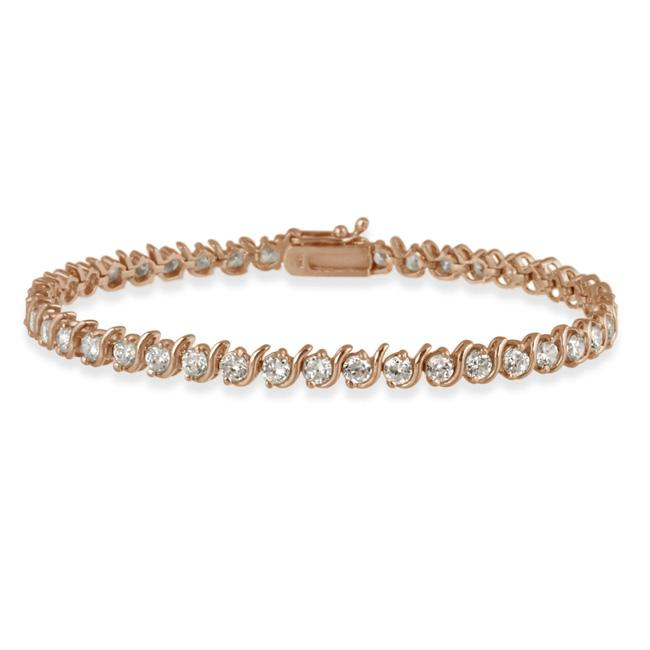 Icz Stonez Rose Gold over Silver Cubic Zirconia 'S' Tennis Bracelet