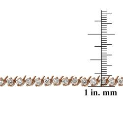Icz Stonez Rose Gold over Silver Cubic Zirconia 'S' Tennis Bracelet - Thumbnail 2