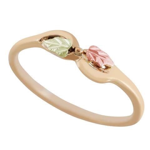 Black Hills Gold 14k Gold Diamond-cut Leaf Bow Ring
