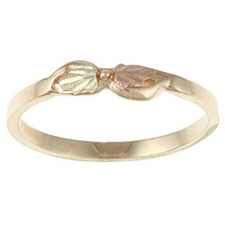 Black Hills Gold 14k Gold Diamond-cut Leaf Bow Ring