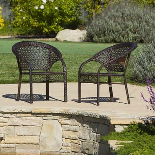 Wicker Fan Back Indoor/ Outdoor Club Chairs (Set of 2) by Christopher Knight Home