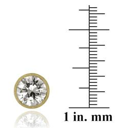Icz Stonez 18k Gold over Sterling Silver 9 mm Cubic Zirconia Stud Earrings - Thumbnail 2
