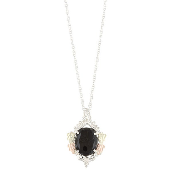 Black Hills Gold and Sterling Silver Onyx Necklace
