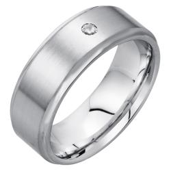 Men's High-polish Satin-finished Cobalt 8-mm Flushed Diamond Band By Ever One - Thumbnail 1