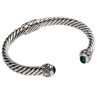 Sterling Silver Hinged Flat Rope Gemstone Cuff Bracelet (Indonesia)