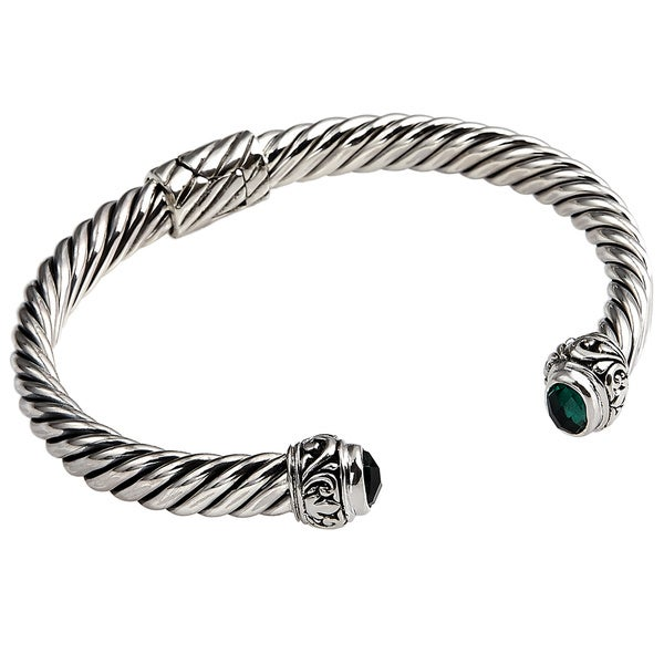 Handmade Sterling Silver Hinged Flat Rope Gemstone Cuff Bracelet (Indonesia)