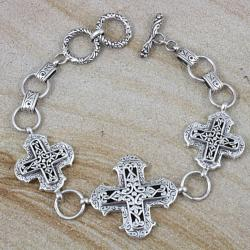 Sterling Silver Scroll Work Raised Cross Toggle Bracelet (Indonesia)