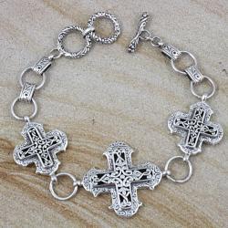 Handmade Sterling Silver Scroll Work Raised Cross Toggle Bracelet (Indonesia)