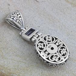Sterling Silver Amethyst Floral Motif Pendant (Indonesia) - Thumbnail 1