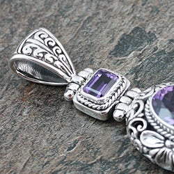 Sterling Silver Amethyst Floral Motif Pendant (Indonesia) - Thumbnail 2