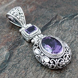 Sterling Silver Amethyst Floral Motif Pendant (Indonesia)