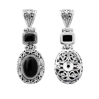 Sterling Silver Onyx Floral Motif Pendant (Indonesia)