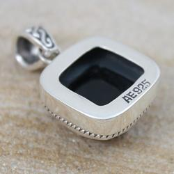 Handmade Sterling Silver Faceted Onyx Square Pendant (Indonesia) - Thumbnail 1