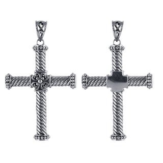 Sterling Silver Twisted Rope Flower Cross Pendant (Indonesia)