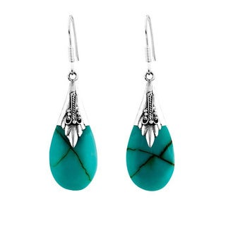 Handmade Sterling Silver Turquoise Bali Teardrop Dangle Earrings (Indonesia)