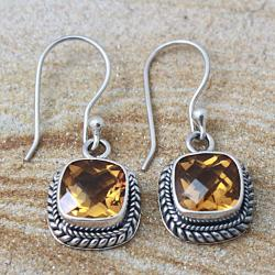 Sterling Silver Faceted Square Citrine Bali Drop Earrings (Indonesia)