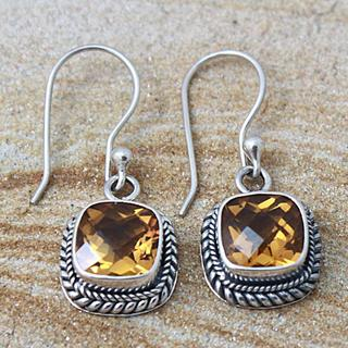 Handmade Sterling Silver Faceted Square Citrine Bali Drop Earrings (Indonesia)