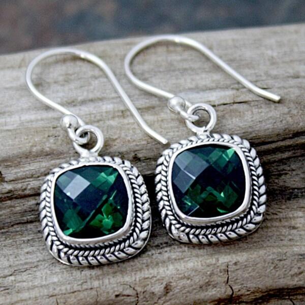 Handmade Sterling Silver Green Square Quartz Bali Drop Earrings (Indonesia)