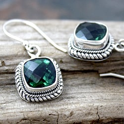 Sterling Silver Green Square Quartz Bali Drop Earrings (Indonesia)