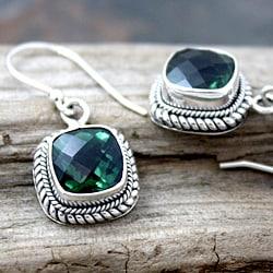 Handmade Sterling Silver Green Square Quartz Bali Drop Earrings (Indonesia) - Thumbnail 1