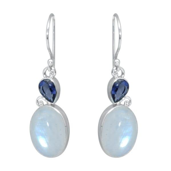 Silver Rainbow Moonstone and Iolite Bali Dangle Earrings (Indonesia)