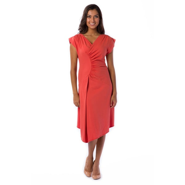 AtoZ Women's Cap Sleeve Ruched Dress