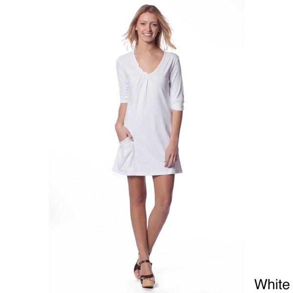 AtoZ Women's 3/4-sleeve Pleated V-neck Dress