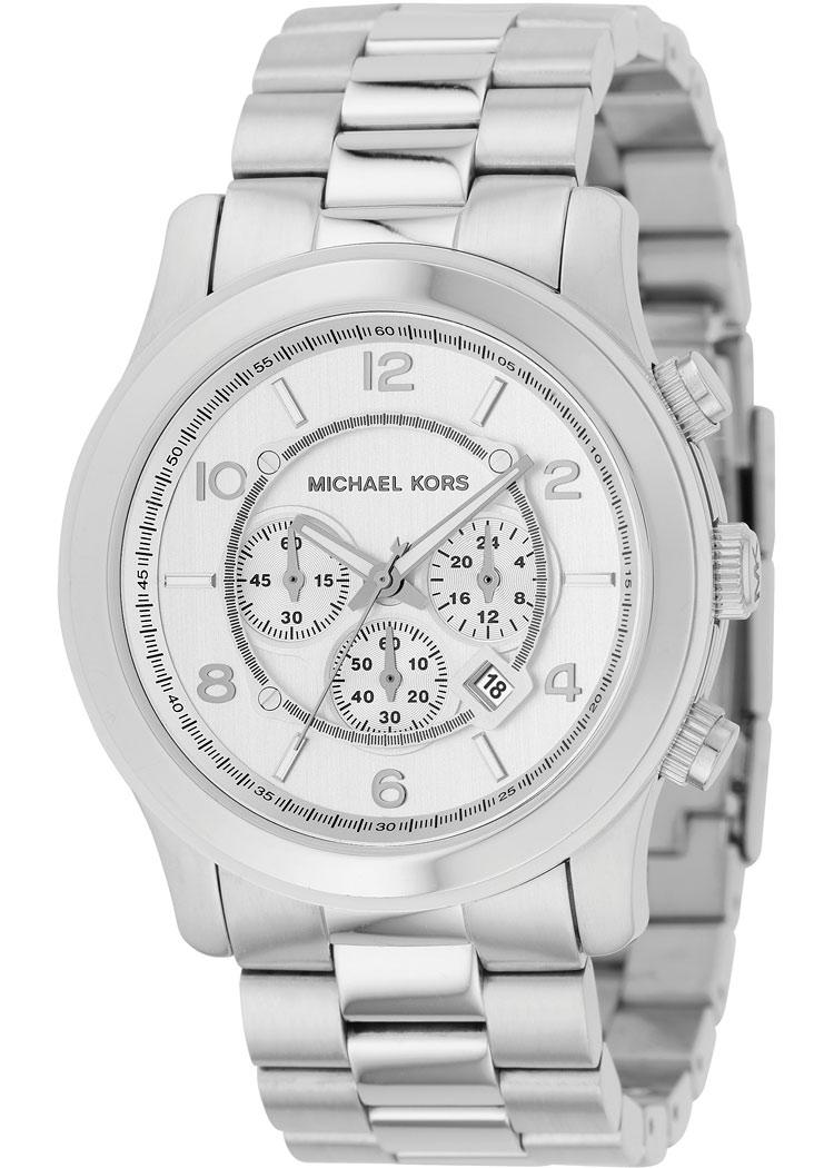Michael kors men 39 s mk8086 runway stainless steel silver chronograph watch free shipping today for Watches michael kors